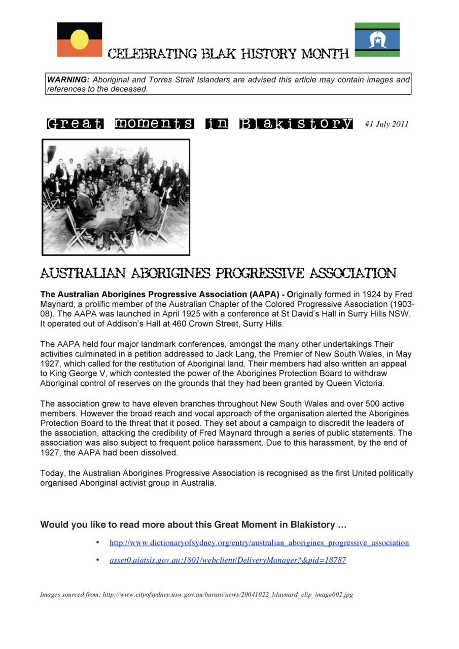 GREAT MOMENTS IN BLAKISTORY:  #1 July 2011 - Australian Aborigines Progressive Association
