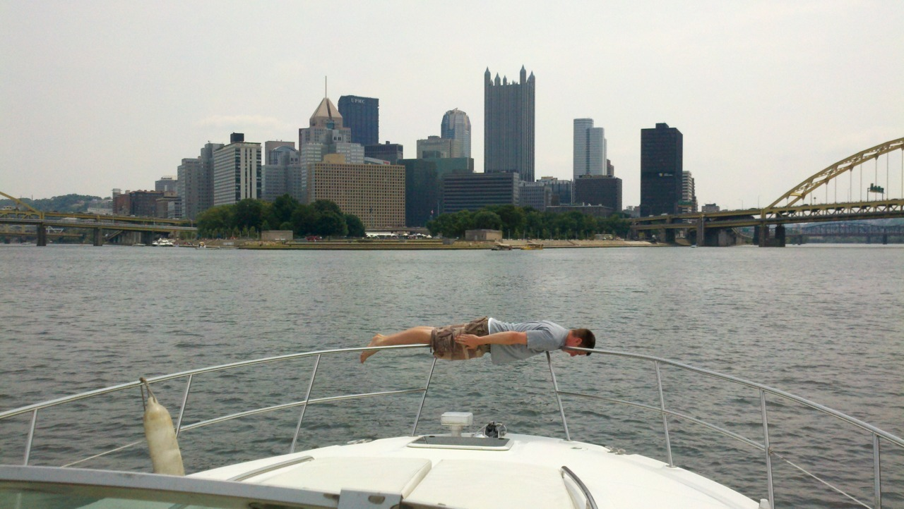 Ben doing the I'm On A Boat Plank at the Point