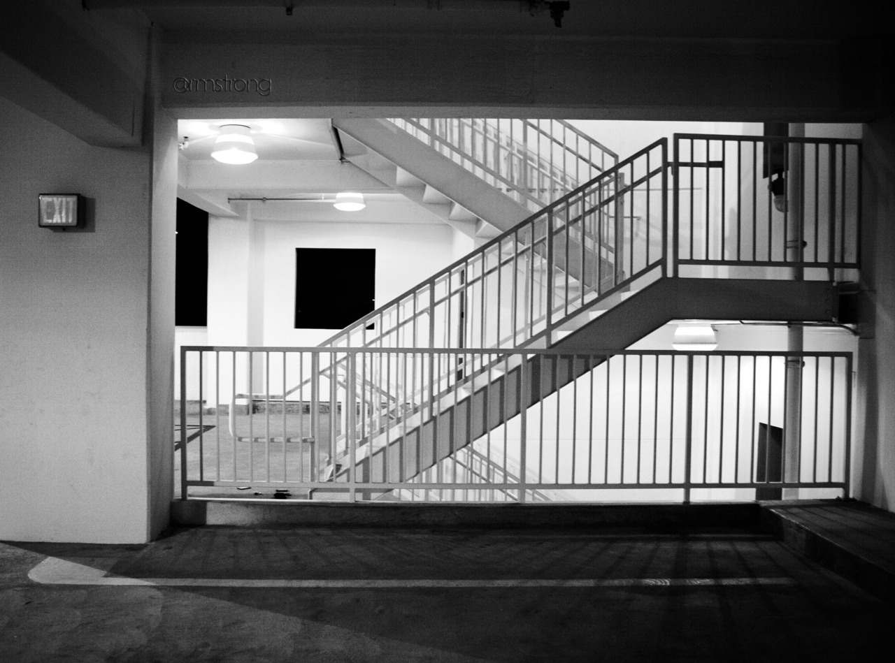 Stairs in a parking garage