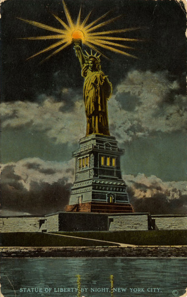 "Statue of Liberty by night, New York City 1960. - H. Finkelstein & Son, Photographer, Printed on verso: ""Statue of Liberty on Bedloes Island in New York Bay 1 1/4 miles from the Battery, a colossal figure of Liberty enlightening the world. It lights the harbor with an electric torch held 306 feet above the water, the highest beacon in the world. Was presented to American by the French nation."" Mid-Manhattan Picture Collection NYPL."