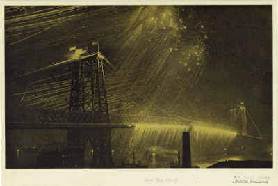 Fireworks Over The New Bridge That Crosses The East River 1907 - Mid-Manhattan Picture Collection NYPL.