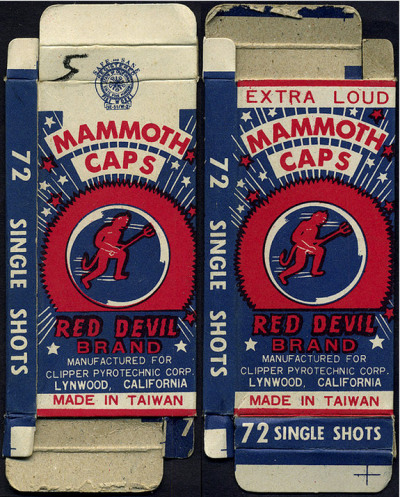 Red Devil Brand Mammoth Caps, Extra Loud Box, 1970's.