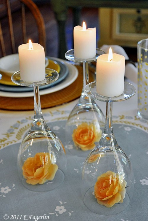 bridalsnob:  {Wine glass} wedding centerpieces  Yes yes and more yes.