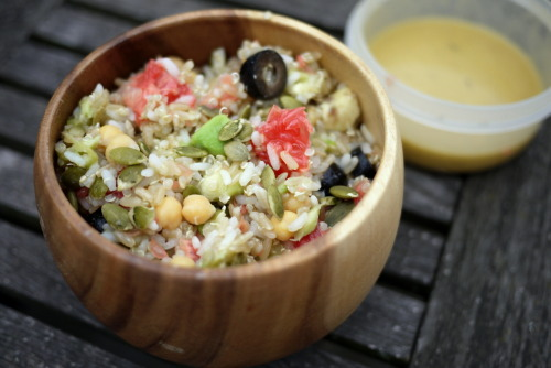 Rainbow Quinoa and Rice Salad with Lime Dressing (serves 4) I made a really fresh and zingy salad for lunch today.  Its an interesting mix of flavours and colours - I can't help feel I was influenced by the Gay Pride festivities :)  You will need: About 100g each of cooked quinoa, white rice and brown rice a pink grapefruit, chopped an avocado, cubed handful of olives from a jar - I used black a shake of pumpkin seeds half a tin of raw chickpeas Place the rice and quinoa in a sieve and run under the cold tap to wash off the starchy goo, and cool it down.  Drain and toss with the rest of the ingredients in a big bowl.  You can make a really good dressing with these things: 1/4 cup olive oil 2Ts lime juice 1tsp dijon mustard 1tsp agave syrup a little salt and pepper