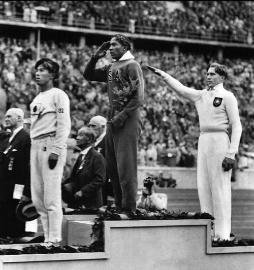 """fuckyeahhistorycrushes:  lickypickysticky:  Even though the above image frightens my heart at first sight (Naoto Tajima of Japan, Jesse Owens of the USA, Luz Long of Nazi Germany) the story behind the nr. 1 and the nr. 2 of the 1936 Olympic long jump finalists touches my heart very much. Carl Ludwig Luz Long (far right) was a German sprinter and long-jumper who finished second to Jesse Owens in the Berlin Olympic Games of 1936. Long was born in Leipzig, Germany in 1913. By the time the great black American sprinter Jesse Owens arrived in Berlin in the summer of 1936, little worried him … except Long who was German and the reigning European long-jump champion. But as Adolf Hitler and 100,000 spectators watched, Long went right up and shook the black American's hand. He thus befriended the great American athlete and did not shy from reaching out even though his own government was promoting a white Aryan race policy which would soon slip into genocide. Long helped Owens at the long-jump trials, when Owens was so spooked by European rules that he almost failed to qualify, even while Long posted an Olympic record, (soon to be smashed by Owens in the final). In the finals, Long finished second to Owens, and took home Olympic silver. When they stood on the podium to receive their medals, Long, standing behind Owens, and made the de rigeur Nazi salute. Owens was delighted as he knew that Long was the German opposition and was not expecting such a charming friend. One night, Long found Owens in the Olympic Village and they had a long private talk, resulting in a long friendship. Luz continued to compete in track meets achieving his personal best of 7.90 meters in the long jump in 1937. Luz finished law school at the University of Leipzig and briefly practiced in Hamburg. But inevitably, when the war turned against Germany, all healthy men were drafted and he became a Nazi soldier. He wrote Owens a final letter in 1942, just after the United States declared war on Germany: """"M"""