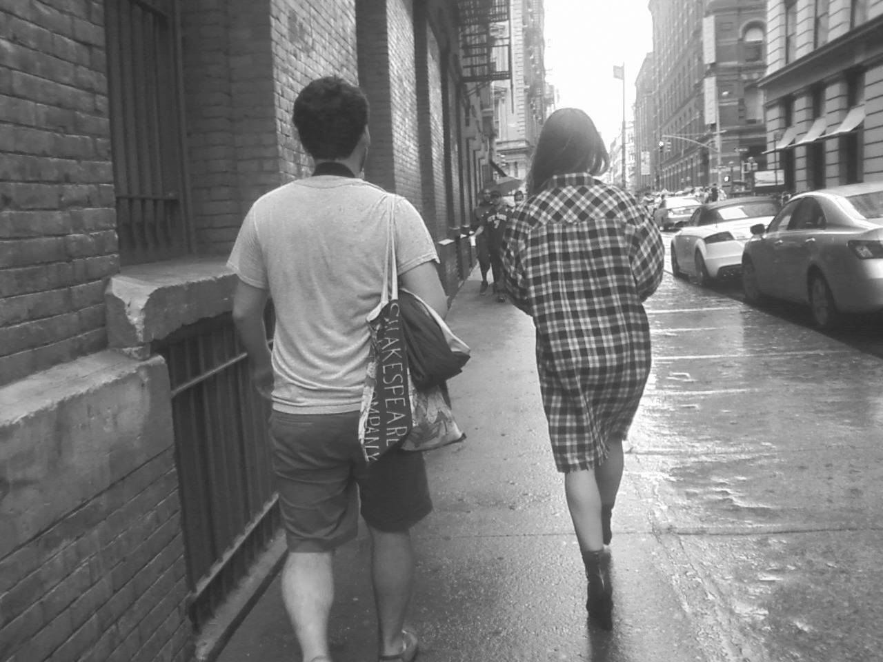 Photographer Jackson Krule and model Claudia walk together today in NYC photo-shoot.