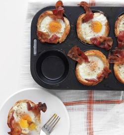 foodopia:  bacon, eggs, and toast cups: recipe here