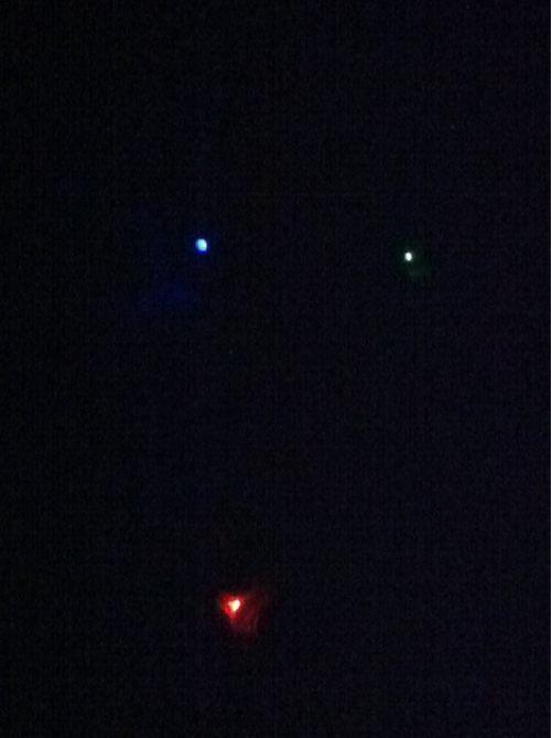 Red, green and blue lights