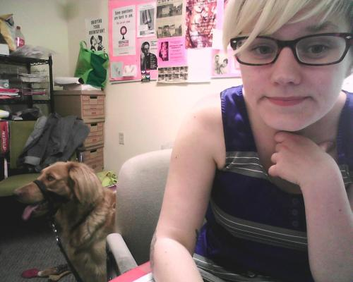 champagneproblems:  [webcam photo of a lady and her dog in a messy office] So you wanna follow me around the internet? Tumblr Femmepire: Good Things Sunday Care of the Self Trent Queer Collective Food I Want to Eat Fuck Yeah Doilies @champagneprobs champagneproblems @gmail.com  how can you not want to get to know this babe?