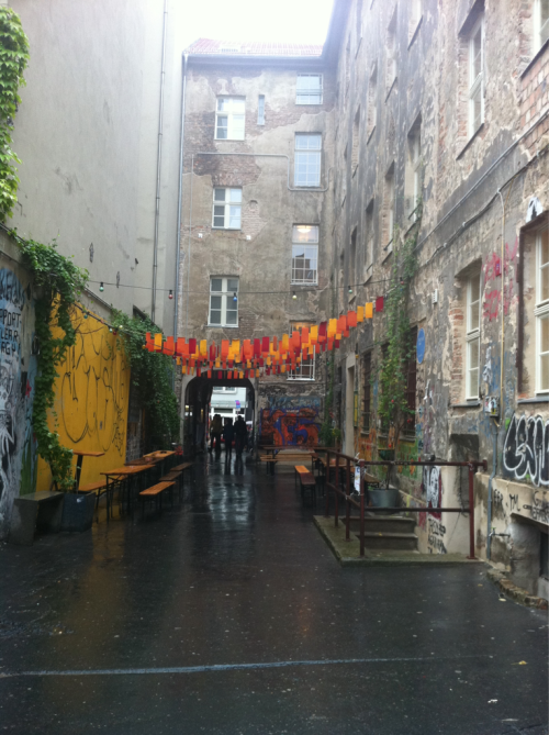 an alley-turned-gallery behind Hackescher Markt in Mitte, Berlin, Germany.