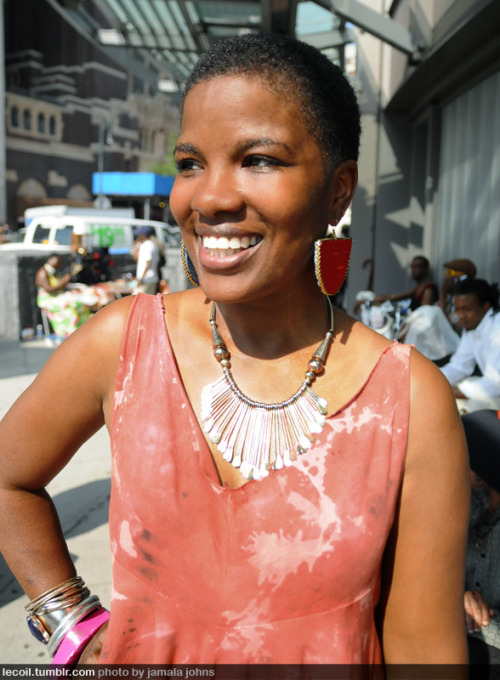 Erica, fashion designer for Etau Atelier, at BAM's DanceAfrica Bazaar