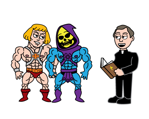 [cartoon of He-Man and Skeletor holding hands, sanding next to a male priest reading from a bible]