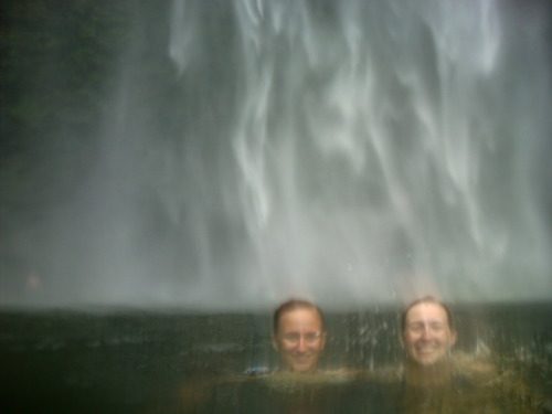 Best parts of my Kauai vacation #2: swimming under Hanakapi'ai Falls after the 2.5 hour hike there. (I'm on the right, my sister's on the left)