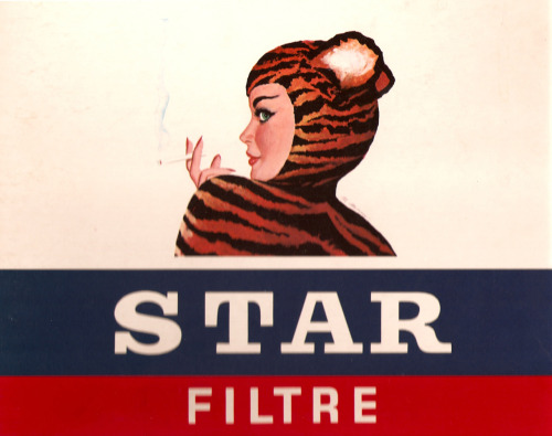 The Tigra Girl by Al Moore 1950's (Belgian cigarette label)