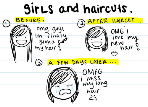 "fuckyeahlonghairedgirls:  Cutting hair short ""just because"" and changing hairstyles frequently is a sign of fickleness, and that is inherently unattractive. That's why short hair is often seen on little girls and little teenage hipster chicks and riotgrrl punx because they haven't matured to be able to take care of their own appearance.Something as simple and easy as having long, flowing, beautiful and sexy hair is a sign of integrity and being able to stick to one thing for quite a while, something that most people lack in this day and age. It's a sign of maturity and adulthood.There's also something really sensual about long, untamed, naturally grown hair. Seeing it is like an instant connection to nature and earthiness and humanness, if you're into that spiritual hippie stuff. I am, if only a little bit.Now I'm not saying that a sexy girl can't look sexy with short hair (because she's already sexy regardless), but I think a woman looks like a woman when she has long hair. Long hair is a signifier of maturity and womanliness.Enough said  hold up i think there's something in my hair  oh what's this?  hahaha would you look at that!  it's a big ol' ""fuck you"" from my short hair"