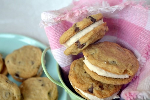 chocolate chip cookie sandwiches with cream filling.