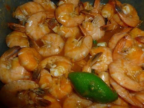 Peel and Eat Shrimp  I adapted this recipe from the New York Times and today I added Pineapple and Chili Sauce from Thai Kitchen