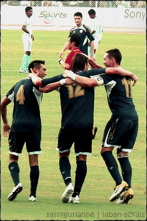 goal celebration Rizal Stadium, 03 July 2011PHI vs SRI