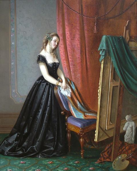 Portrait of a Lady by Auguste Coomans, 1868 Belgium, Bury Art Gallery