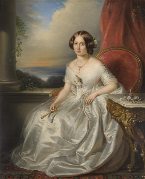 Portrait of a Lady by Adrianus Wuffaert, 1846 Belgium, Shipley Art Gallery