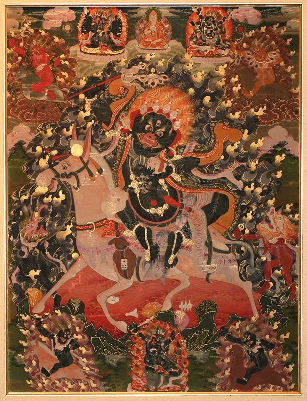 Small Thangka of Palden Lhamo Mongolia19th c.Distemper and gold paint on fabric12 x 16 inches, 30.5 x 40.5 cm An exquisite small painting of Palden Lhamo, chief protectress of the Gelugpa lineage and of Tibet  Source: printsandthings