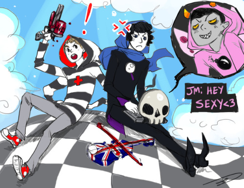 reapersun:  HOLMESTUCK i started imagining what it would be like if they started alchemizing all the awesome shit in their flat and i think i blew a brain fuse edit: also i know john has other jumpers but I REALLY LIKE THE STRIPEY ONE