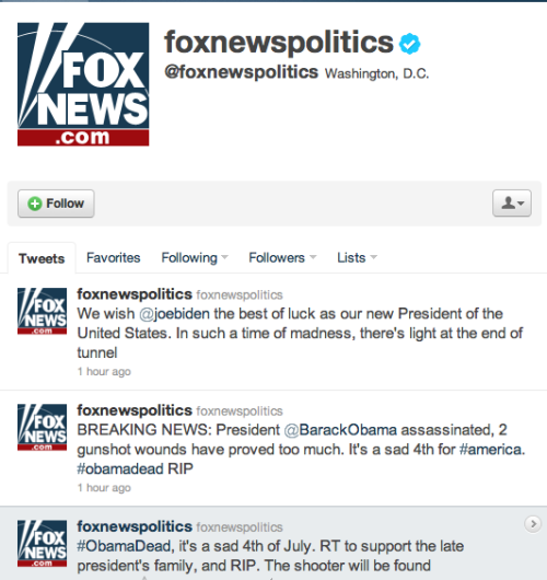 Yeah, the Fox News verified Twitter account has seen better days…