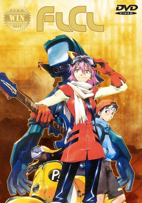 FLCL (2001) aka Fooly Cooly A 12-year old boy named Naota one day meets a strange woman, riding a  Vespa and wielding a big guitar. As soon as she appears, mysterious  things start happening. A vibrant and fast-paced 6 episode anime masterpiece! Suggested to me after posting Dead Leaves (2004) - TV head/robot. And i loved the EVA Neon Genesis type feel to it as well. This was a ridiculous and fun ride, though confusing at the start. Clarity comes in the end. This is just what the doctor ordered, an almost perfect getaway from reality. Let your mind go wild! Stunning to the eyes and mind. It's got cats, robots and mad rockin' guitars!!! And a brutal OST to boot. Loved the sexual innuendo and dark metaphors, imbedded in the fantastic animation. A roller-coaster ride not to be missed! Three thumbs up!