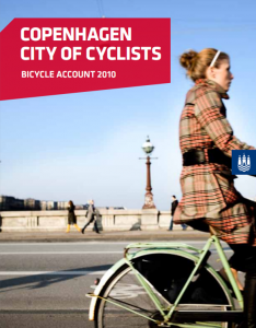 Copenhagen City of Cyclists - Bicycle Account 2010 by Cycling Embassy of Denmark A great short read for a Monday afternoon lunchbreak!  Its got great facts and stats on safety, numbers cycling etc!  People are safer and feel safer in traffic There has been a marked increase in the perceived safety from 51 % in 2008 to 67 % in 2010, thereby reversing an otherwise clear downward trend in cyclists' sense of safety since 1996. Today only 5 % of city cyclists respond that they feel very unsafe. At the same time the level of cyclist safety is historically high: 92 seriously injured cyclists in 2010 as against 252 in 1996. This positive trend is due to an organized effort to improve safety and security in traffic. Advanced stop lines and more and wider cycle tracks have made cycling in traffic safer and more secure. However, a continued, intensified effort is necessary if we are to achieve our goal that 80 % of city cyclists shall feel safe in traffic by 2015.  Almost everybody cycles 84 % of Copenhagen residents have access to a bicycle and 68 % cycle at least once a week. Even among those who cite the car or public transport as their primary transport mode, 15 % cycle at least once a week.   As many as 50 % of Copenhagen residents who work or study in Copenhagen cycle to their workplace or educational institution.