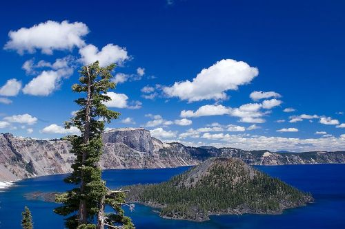 Wizard Island, in Crater Lake. Where my favorite book growing up, The Ancient One by T.A. Barron, was set