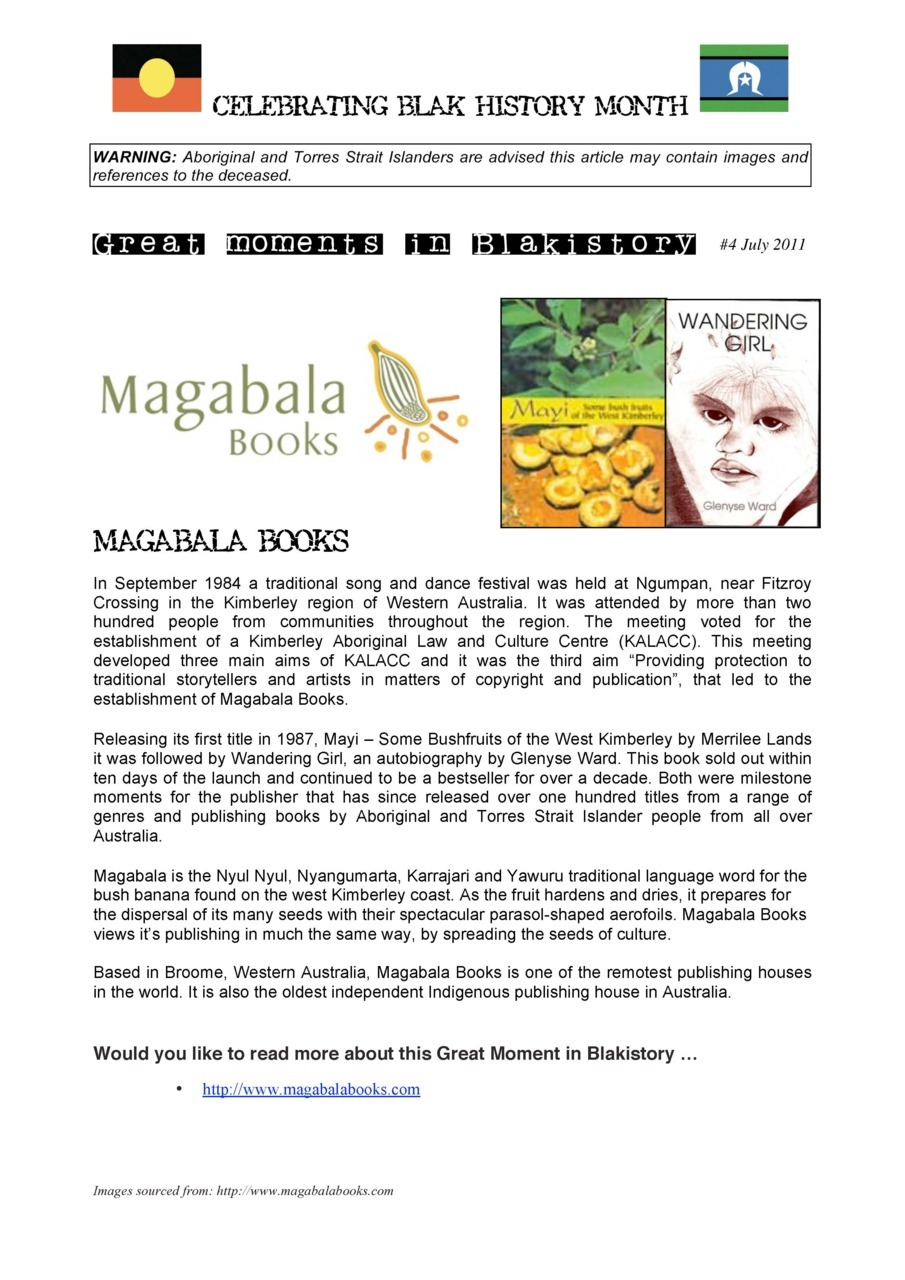 GREAT MOMENTS IN BLAKISTORY:  #4 July 2011 - Magabala Books