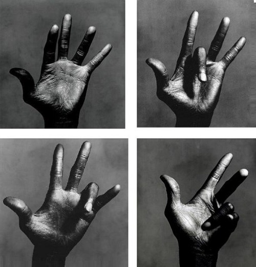 santosha65:  Irving Penn. The left hand of Miles Davis - The full set (i was actually unaware that more than one existed - tsk, tsk, what Penn devoteé am I?)