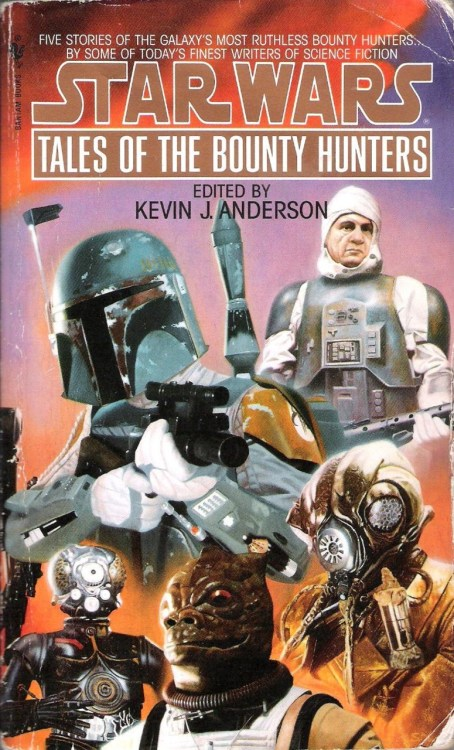 "Tales of the Bounty Hunters, edited by Kevin J. Anderson (1996, Bantam) Like Tales from the Mos Eisley Cantina and Tales from Jabba's Palace, Tales of the Bounty Hunters is an anthology of stories by different authors set during and around the events of one of the films. This one, of course, follows the exploits of the bounty hunters that Darth Vader sicked on Han Solo and the crew of the Millennium Falcon in The Empire Strikes Back. Unlike the other two collections mentioned above, this one has only five stories (as opposed to sixteen or nineteen). The trade-off is that each is significantly longer, still managing to fill your standard three-hundred plus pages for a Star Wars paperback.    The collection opens with ""Therefore I Am: The Tale of IG-88"" by Kevin J. Anderson. The story reveals that the assassin droid showed up on the Executor (Vader's Super Star Destroyer) partially to raise funds for his ultimate goal and partially to divert attention from that goal: complete destruction of all organic life in the galaxy, ushering in an era of droid supremacy. Anderson writes serviceable, quick-paced prose, but he indulges in a little bit of cheese here when IG-88 and his duplicates start killing folks. In my mind's eye, I could see a '90s holofoil super-special-awesome collector's edition comic book cover for this story with the words ""ROBOT CARNAGE!!!"" emblazoned on it. That said, this isn't a bad story. It's reasonably entertaining, and its conclusion is immensely satisfying. IG-88 is foiled by his arrogance, a trait that is, of course, all too human.     You know, Boba Fett gets all the love. When I read this book years ago, I became just as fascinated with Dengar because of Dave Wolverton's ""Payback: The Tale of Dengar."" It turns out that Dengar's head is all bandaged up because of a nasty swoop bike crash—the result of a race with none other than Han Solo. Dengar's life was saved by Imperial doctors, who made him into an ideal government assassin by burning out several of the emotional centers in his brain. This left Dengar with few emotions save for rage, the likely false hope that his situation might improve, and loneliness. This begins to change when he meets Manaroo, a member of a race whose members share a cybernetic empathic link with those closest to them through a device called an attanni. Through brief glimpses Manaroo provides, Dengar slowly relearns to make decisions for the wellbeing of another person, to distinguish from right and wrong, and to love. The last thing most folks would expect from this collection is for any of the stories to tug at the heartstrings, but Wolverton does so here, and to good effect. The story is romantic and even heart-warming, but Wolverton remembers that Dengar has spent years as a cold-blooded killer, and doesn't let the bounty hunter's transformation stray into the realm of schmaltz.     Despite the title of the third story—""The Prize Pelt: The Tale of Bossk""—Kathy Tyers chooses to make the big Trandoshan bounty hunter the antagonist of this tale. The protagonists are two original characters: A human woman called Tinian I'att and her Wookie partner, Chenlambec. Both sign on to help Bossk with the intention of capturing him and collecting the bounty on his head. Bossk, on the other hand, is interested in Chenlambec's rare silver-tip pelt. The story's cat-and-mouse game works well enough, but its most interesting elements are its insights into Trandoshan culture. Bossk's people worship a deity known as the Scorekeeper, who tallies point values based on kills made, pelts collected, and other lovely things, all to be rewarded in the afterlife. There's something chilling and captivating to me about an alien race with a truly alien set of ethics. I would have liked to have seen more discussion of these ideas here, but the story is solid nevertheless.     Mysticism is something one would not be likely to associate with any of these characters, but I'm glad that M. Shayne Bell did in ""Of Possible Futures: The Tale of Zuckuss and 4-LOM."" It turns out that Zuckuss has a gift he simply calls ""intuition,"" which allows him, through meditation, to discern the location and intentions of people, as well as the outcome of events. It is left relatively ambiguous as to whether this gift has anything to do with the Force, but either way, Zuckuss's droid partner 4-LOM, who has a long history of exhibiting several very un-droid-like qualities (such as greed), has also decided that he can learn Zuckuss's skill. The story also follows Rebel Commander Toryn Farr, who is forced to make several tough decisions during the evacuation of Hoth. Her path crosses with that of Zuckuss and 4-LOM when the former intuits the Rebel rendezvous point outside the galaxy, and the bounty hunters rescue Farr and her crew as a gesture of good faith—a decision that later prompts the pair to begin working for the Alliance.  In this story, Bell explores the themes of choice and consequence and keeps things interesting by writing both Zuckuss and 4-LOM in a way that defies the expectations I imagine most readers had for those characters going in.     In compiling this volume, Kevin J. Anderson has saved the best for last. I don't say this because Boba Fett is a fan favorite character. Boba Fett is pretty bad ass, to be sure, but this last story is the best simply because Daniel Keys Moran's ""The Last One Standing: The Tale of Boba Fett"" is the most well-written story here. Its prose is thoughtfully considered and skillfully crafted, full of memorable lines and phrases that are repeated at appropriate moments throughout the story. This one covers the greatest length of time, beginning with Boba Fett's first from-a-distance encounter with Han Solo, tracing his activities through the trilogy and beyond, and ending with a confrontation between Fett and Solo, the conclusion of which is left ambiguous. Moran conveys the passage of time in poetic fashion, sometimes choosing to execute time skips with an isolated line reading ""Fifteen years passed,"" and other times doing so with several paragraphs describing the monumental changes taking place in the galaxy, and in Boba Fett and Han Solo. There is plenty of Boba Fett being a badass and exploration of his unique and uncompromising principles to be found here, but at its heart, this story is really about aging and change. It's an excellent exploration of those themes, and I don't just mean ""for a Star Wars book.""  Tales of the Bounty Hunters isn't quite as cohesive a collection as Tales from the Mos Eisley Cantina or Tales from Jabba's Palace, and the difference in quality between these stories is more noticeable because there are fewer of them, but for a fan of Star Wars books, they are all well worth reading."