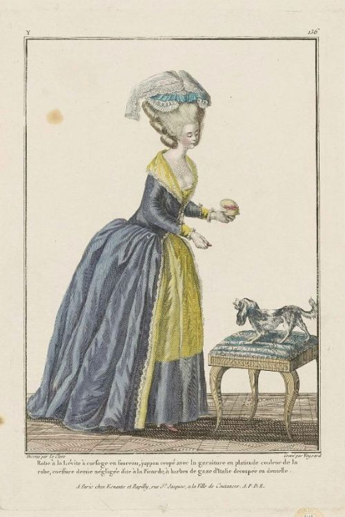 "Gallerie des Modes, 1779.  ""Robe a la levite…"" Gorgeous colors and a lovely collar!"