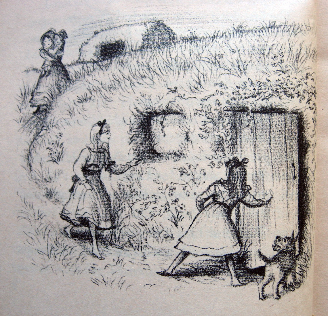 Why I've been sort of obsessed with sod houses since age 7.  Illustration by Garth Williams from On the Banks of Plum Creek by Laura Ingalls Wilder.