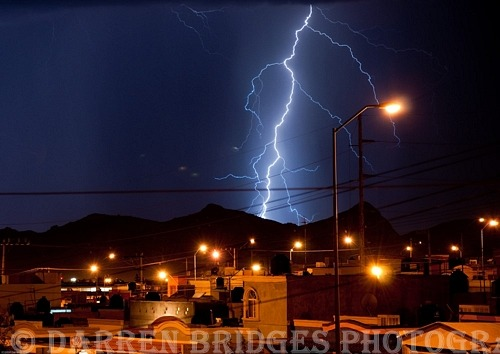 Lightning in the mountains overlooking the city of Chihuahua, Mexico