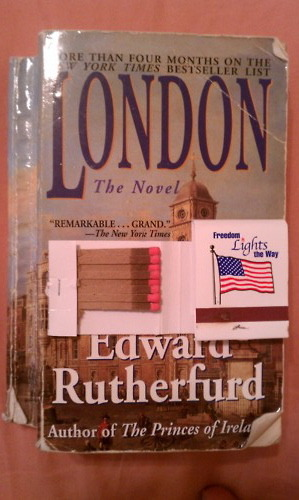 a water-logged novel about London and two America matchbooks
