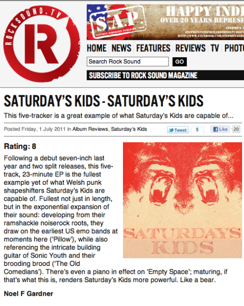 The artwork i did for the Saturdays Kids album is in Rocksounds and also Art Rocker magazines this month.Pretty cool.