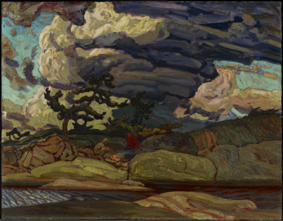 Source: artgalleryofontario, The Elements, 1916, artist: J.E.H. MacDonald (Canadian)Critique:  A piece of one of the iconic (cliche?) Canadian artists of the Group of Seven The Elements is a fascinating piece in the cannon of Group of Seven work because it contains a rare beast of the Canadian Shield: humans.  Their form is limited, indicated only by form and colour from their background.  They are over powered by their environment.  Which is only fitting for a classic Canadian piece.  They are places neatly using the rule of thirds, with a number of prominent lines in the piece pointing towards them.  Using scale the artist has made them miniscule and minor to the painting.  Taking up a tiny portion.  But given it's a Group of Seven artists, they're lucky to be there at all.