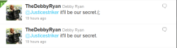 OMG THE DAY HAS COME. DEBBY RYAN TWEETED ME BACK. I LOVE HER SO MUCH <3