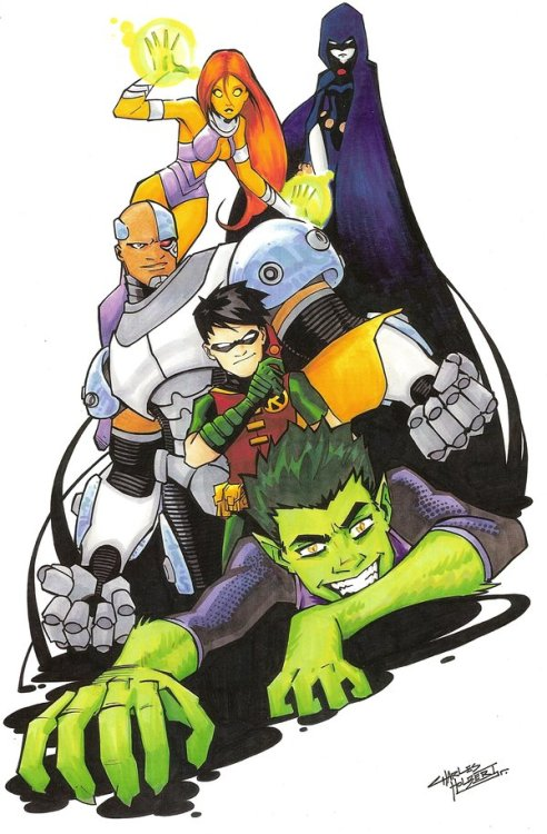 murlash:    The Teen Titans // pencils, inks and colors (markers) by Charles Holbert (*KidNotorious,2009)