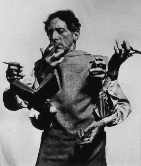Jean Cocteau by Philippe Halsman, 1948 (source; via)