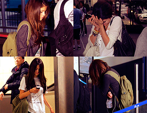 we're walking through airports and selena will just put in her headphones and i'm like 'why do you have your headphones in?' and she's like 'because they're going to talk to me and they're going to say mean things and i don't want to hear it'