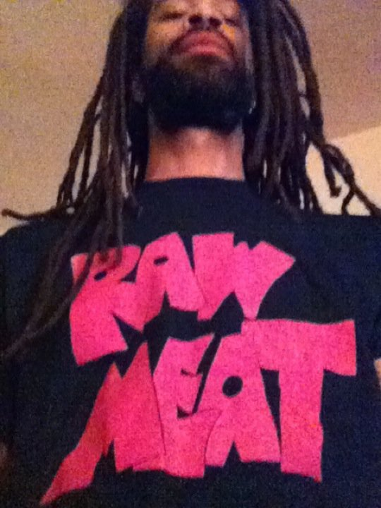 Vintage 'RAW MEAT' shirt, yo.   These were the first guys to offer me and my crew (Coalition, waddup Cheeb! waddup 3D!) a chance to play onstage in Naptown. We were one of the first hip-hop acts to grace the stage at The Patio and we probably never woulda gotten a shot any other way, but for Buddy and the guys givin us a shot. So, a 'raunch rock' band (THAT ROCKED!) basically kicked down the door for hip-hop being accepted in Broad Ripple…and eventually the whole city caught on.  I never forget who looked out for me and will be wearing this shirt on TV this week.  Watch 'The Rock Block with Rusty Redenbacher' every weeknight at 11 on Indy's Music Channel. RR
