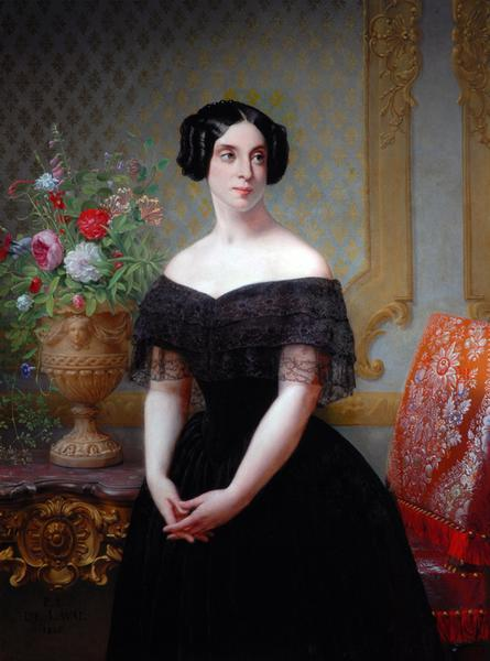 Portrait of a Lady in Black Pierre Louis Delaval, 1845 France, the Bowes Museum