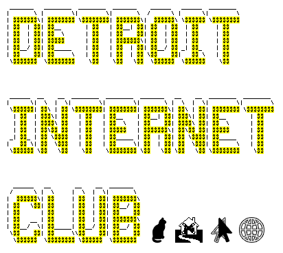 the first sacred symbols of the detroit internet club in clip-art form: the cat (without cats there could be no internets), the boarded up house (do the most virtual world good for physical world problems), 2 cursors touching (awww, collaboration), and the global network (only 25,000 miles around and no escaping)