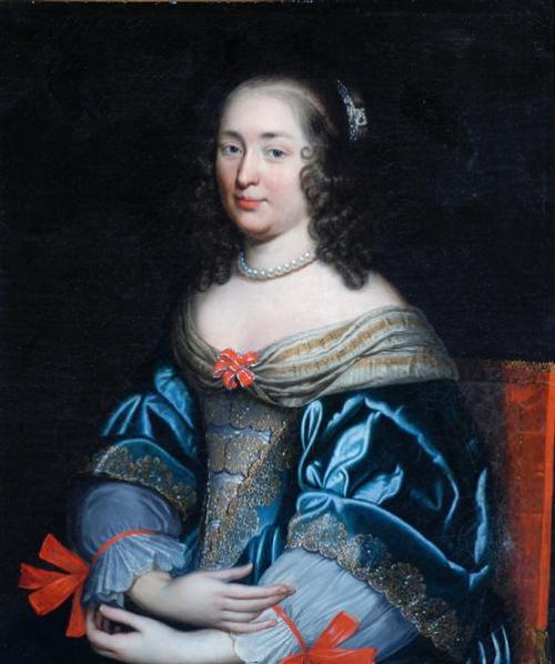 Portrait of a Lady in Blue and Gold by anonymous (possible copy of an original by the Beaubrun family), ca 1635-80, the Bowes Museum