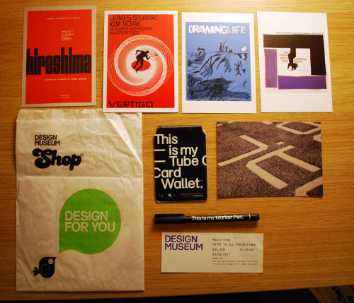 Goodies from the Design Museum shop! 2 Saul Bass postcards, 2 Wim Crouwel postcards and a Mariscal postcard. Plus a State of the Obvious pen and oyster card wallet, designed by Mash Creative. Not really into white helvetica on black but I couldn't resist! Such a great shop at the design museum, could have bought way more!
