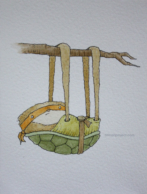 "eatsleepdraw:  ""teenage mutant ninja sloth"" (pen & watercolor)"