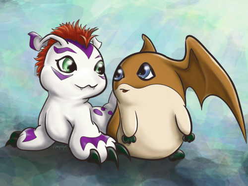 Possibly the 2 cutest digimon ever! anime-manga-upon-request:  I still have digimon cards at home in a giant stack. Go on, judge me for being 17 and still having them. I don't care, I love digimon.